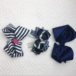 Other - Girls Navy Hair Bows Lot of 3 Boutique Bows